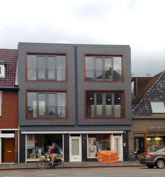 Nieuwbouw Leiengevel Paterswoldseweg Groningen - Gevel bekleedt met Natuurstenen Leien